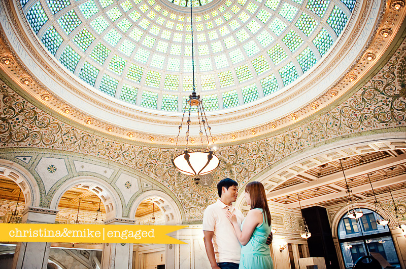 chicago engagement photos, chicago cultural center engagement photos, millennium park engagement photos, the bean, cloud gate photos