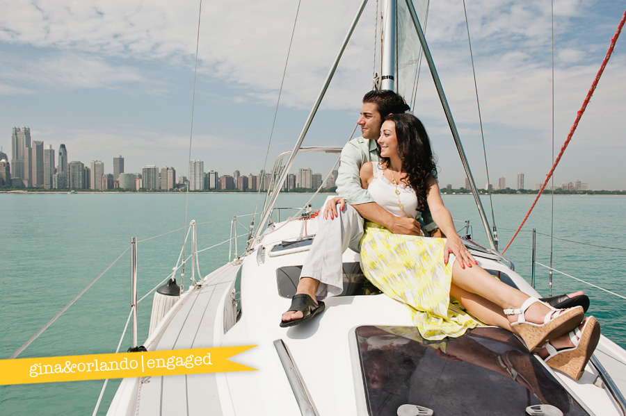 chicago engagement session, chicago sailing engagement session, lake michigan engagement session